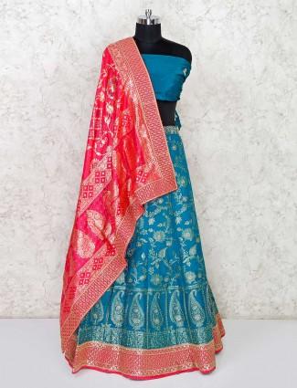 Rama green banarasi silk semi stitched lehenga choli