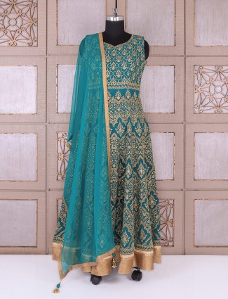 Rama green color anarkali suit in silk fabric