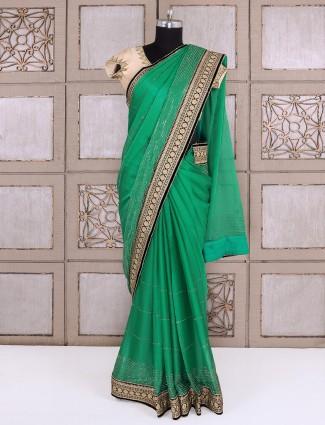 Rama green color chiffon fabric saree
