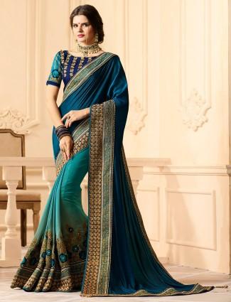 Rama green color chiffon saree
