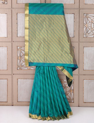 Rama green color festive wear saree
