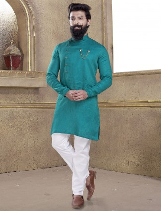 Rama green color kurta suit