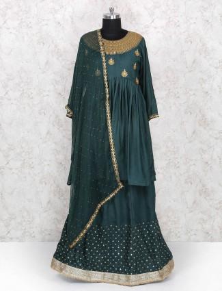 Rama green color party wear lehenga choli