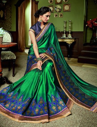 Rama green color satin silk saree
