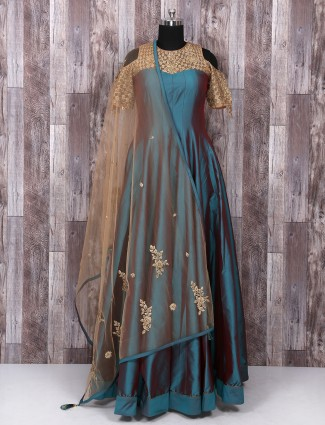 Rama green color silk anarkali suit for partywear