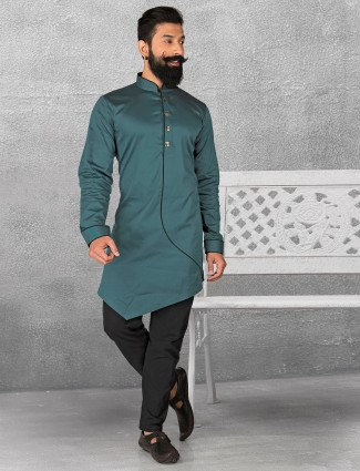 Rama green color silk kurta suit