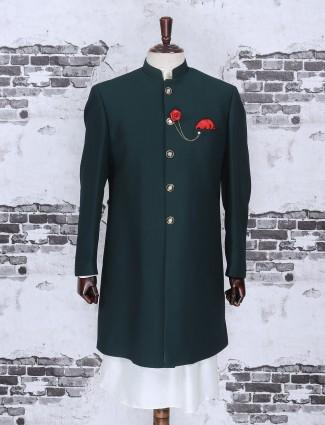 Rama green color terry rayon indo western