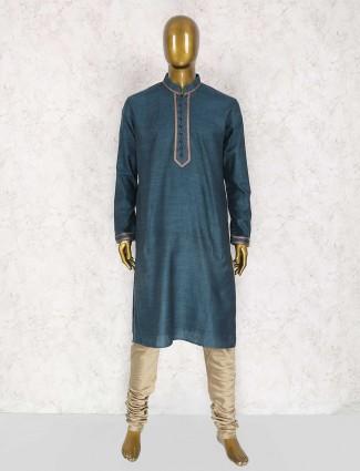 Rama green cotton plain kurta suit