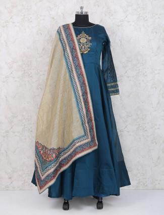 Rama green cotton silk anarkali suit