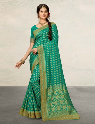 Rama green cotton silk saree for reception