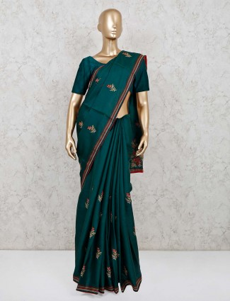 Rama green cotton silk saree for wedding days