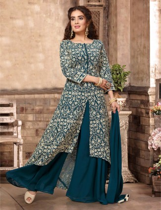Rama green designer georgette palazzo suit for festive