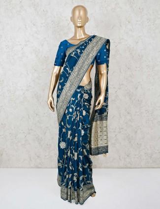 Rama green dola silk saree for festive