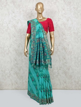 Rama green festive saree in silk