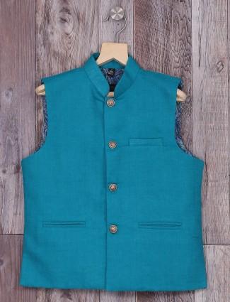 Rama green festive wear waistcoat in terry rayon