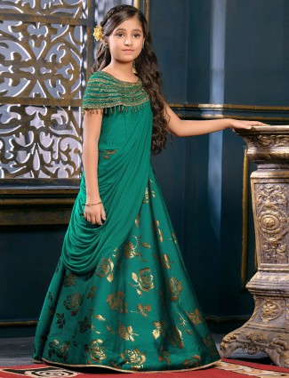 Rama green hue designer gown
