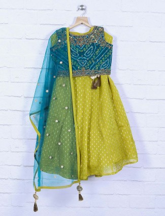 Rama green hue silk fabric lehenga choli