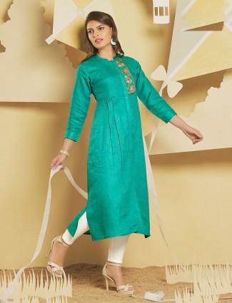 Sea green jute fabric festive kurti