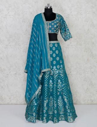 Rama green lehenga choli in silk