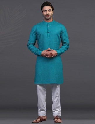 Rama green linen festive wear kurta suit