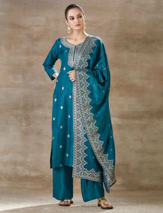 Rama green pant style salwar kameez in cotton silk