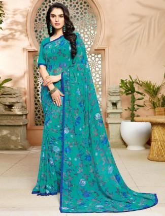 Rama green printed chiffon saree
