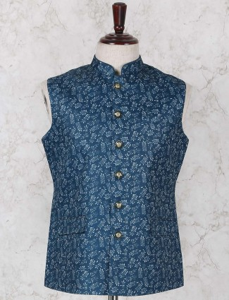 Rama green printed terry rayon waistcoat