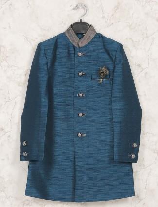 Rama green raw silk fabric indo western