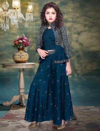 Rama green raw silk party wear printed palazzo suit