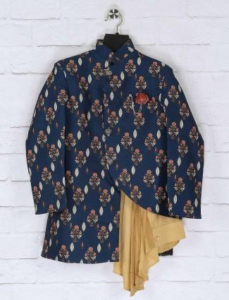 Rama green raw silk printed indo western