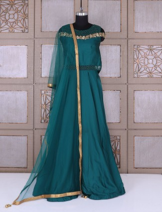 Rama green satin silk anarkali suit