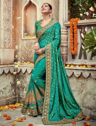 Rama green silk designer saree