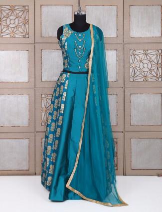 Rama green silk party wear lehenga choli