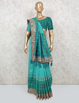 Rama green wedding saree in semi silk