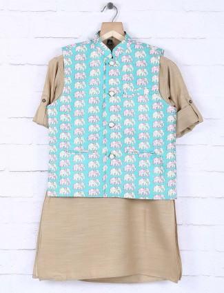 Raw silk aqua hued printed waistcoat set