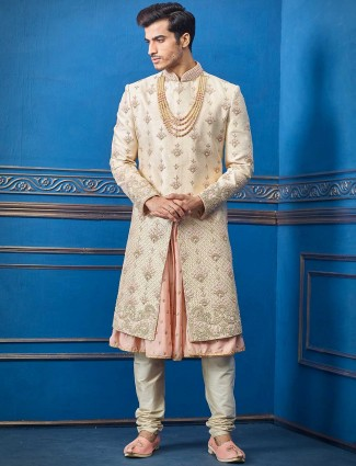 Raw silk beige and peach sherwani