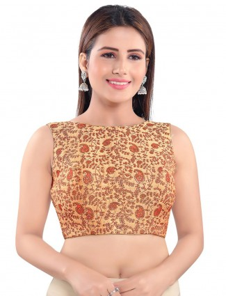 Raw silk beige blouse with keyhole pattern