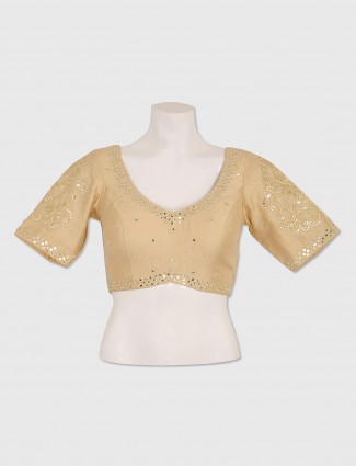 Raw silk beige color ready made blouse