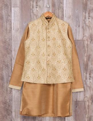Raw silk beige cream waistcoat set