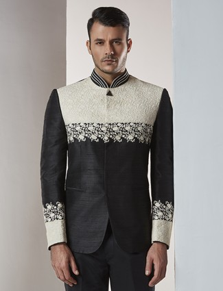 Raw silk black jodhpuri suit
