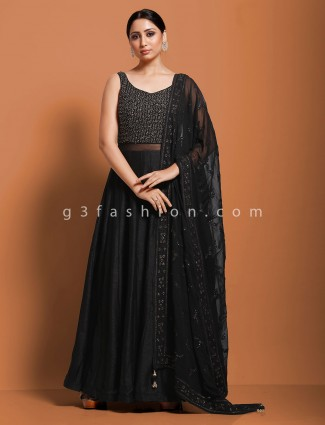 Raw silk black party function anarkali suit