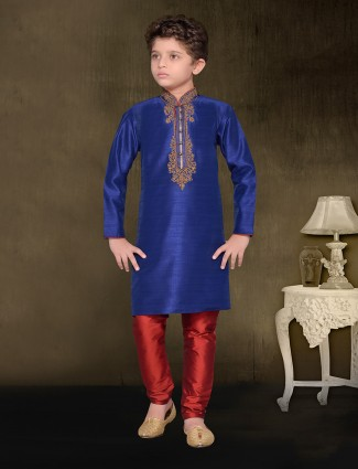 Raw silk blue color festive wear kurta suit