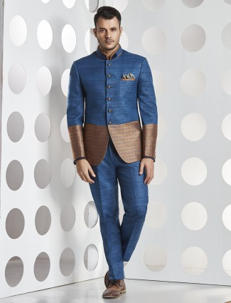 Raw silk blue jodhpuri suit