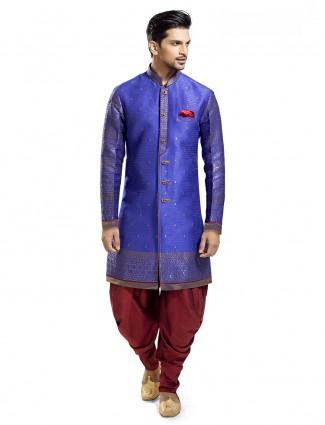 Raw silk blue wedding wear kurta suit