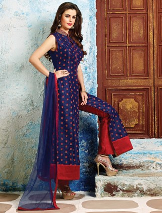 Raw silk classic  blue salwar suit