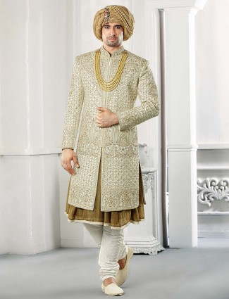 Raw silk cream color groom wear sherwani