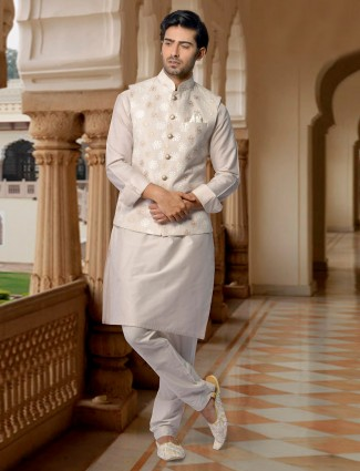 Raw silk cream color party wear waistcoat set