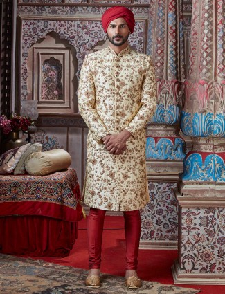 Raw silk cream groom wear sherwani