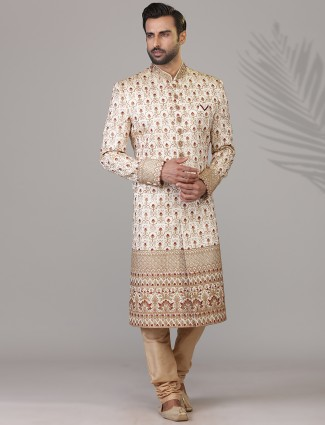 Raw silk cream wedding sherwani