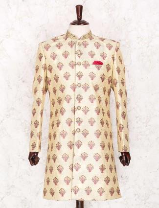 Raw silk cream wedding wear indo western